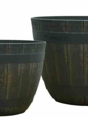 حوض شبه اسطواني تشطيب خشبي بني غامق