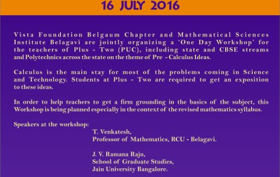 One Day Workshop on PRE-CALCULUS