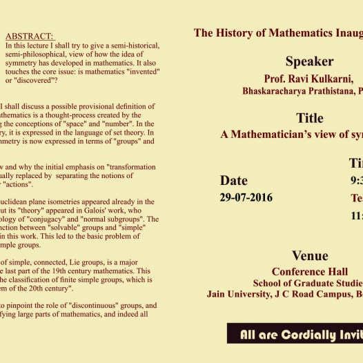 History of Mathematics inaugural lecture