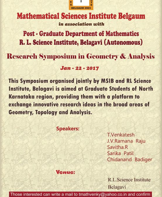 Research Symposium in Geometry & Analysis