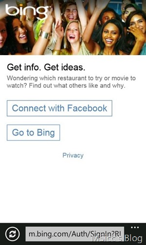 bing connect to Facebook