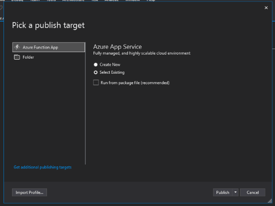 Publish to Azure Step 1