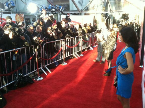 "Ms. In The Biz founder Helenna Santos-Levy on the red carpet of the ""American Reunion"" premiere."