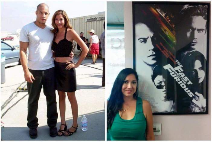 "Renee Garcia on the Set of ""The Fast and the Furious"" with Vin Diesel and Renee now with the film's poster"