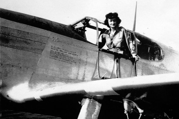In this undated photo, Violet Cowden, one of the military's first female aviators during World War II, poses aboard a P-51C Mustang on which she flew from San Diego to Long Beach Airport, California. Cowden has died at 94. (Los Angeles Times/MCT)