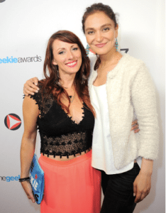 Nadia at the Geekie Awards with Kristin Nedopak, the founder of the Geekies. Photo courtesy of Albert L. Ortega/Gettyimages