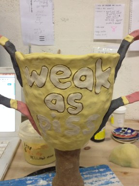 """""""Weak as Piss"""" trophy - part of a series of trophies examining statements of achievements (in progress)"""