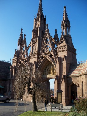 Gothic entrance to Greenwood Cemetery.