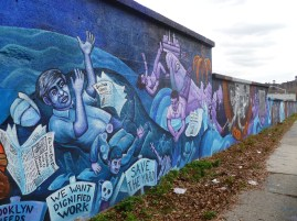 Mural on the wall of the Brooklyn Navy Yard.