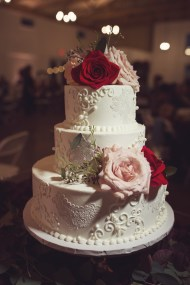 edible lace and hand piping wedding cake