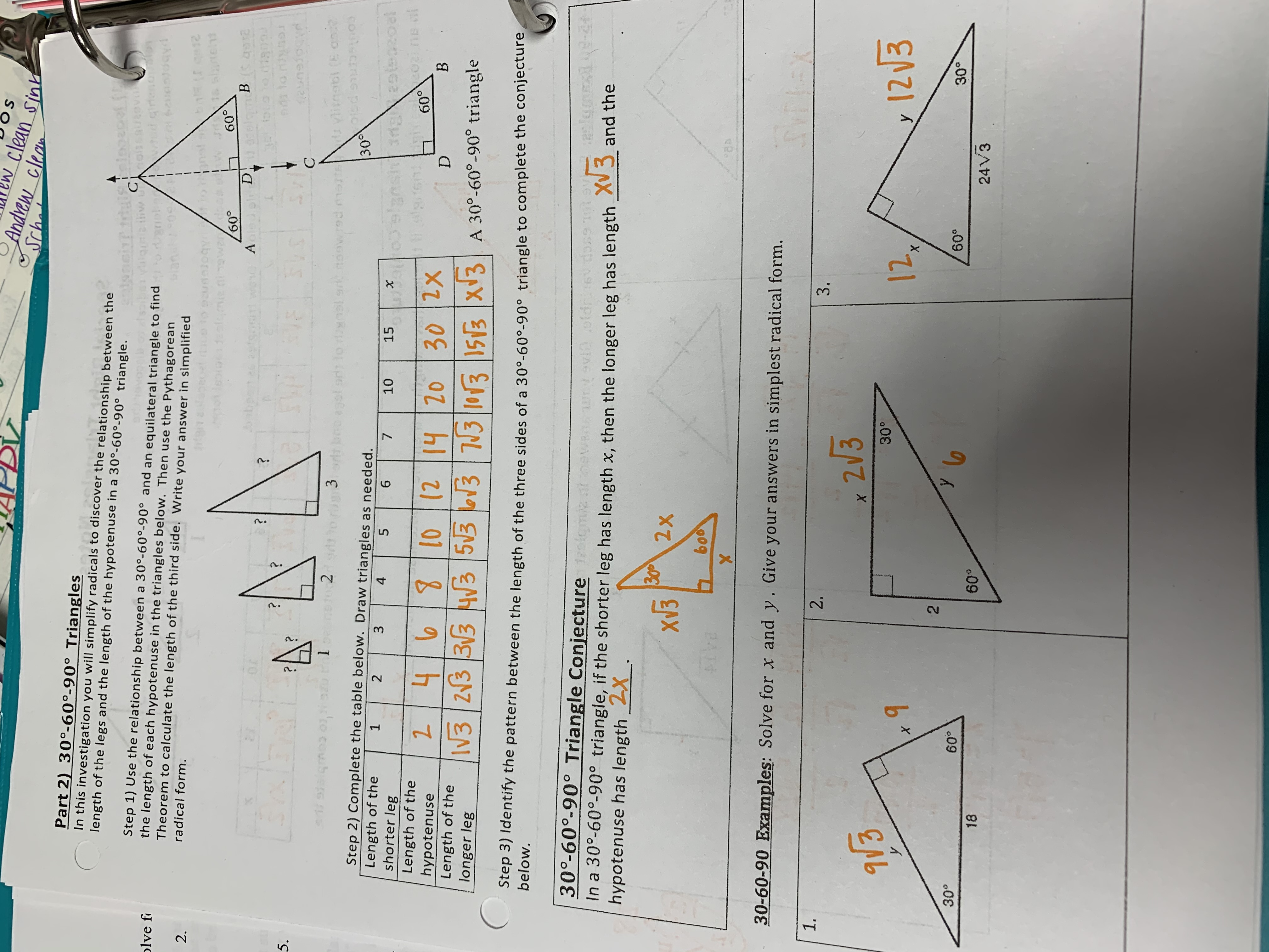 Special Right Triangles Coloring Activity Answer Key
