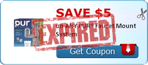 Save $5.00  on ANY PUR® Faucet Mount System