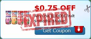 $0.75 off Any ONE (1) DOLE Fruit Smoothie Shaker