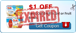 $1.00 off two DOLE Fruit in Gel or Fruit Bowls