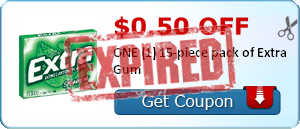 $0.50 off ONE (1) 15-piece pack of Extra Gum