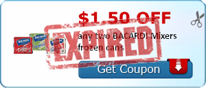 $1.50 off any two BACARDI Mixers frozen cans