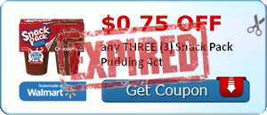 $0.75 off any THREE (3) Snack Pack Pudding 4ct