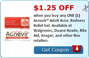 $1.25 off when you buy any ONE (1) Acnevir® Adult Acne & Redness Relief Gel