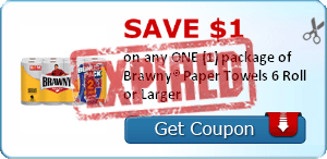 SAVE $1.00 on any ONE (1) package of Brawny® Paper Towels 6 Roll or Larger