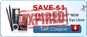 SAVE $1.00 on ANY MAYBELLINE® NEW YORK Eye Shadow or Eye Liner