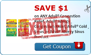 SAVE $1.00 on ANY Advil® Congestion Relief, Advil® Allergy & Congestion Relief, Advil® Cold & Sinus or Advil® Allergy Sinus Product