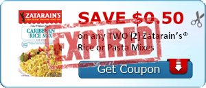 SAVE $0.50 on any TWO (2) Zatarain's® Rice or Pasta Mixes