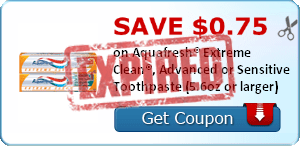 SAVE $0.75 on Aquafresh® Extreme Clean®, Advanced or Sensitive Toothpaste (5.6oz or larger)