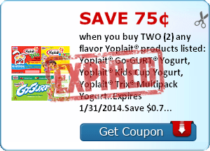 Save 75¢ when you buy TWO (2) any flavor Yoplait® products listed: Yoplait® Go-GURT® Yogurt, Yoplait® Kids Cup Yogurt, Yoplait® Trix® Multipack Yogurt..Expires 1/31/2014.Save $0.75.