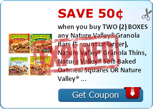 Save 50¢ when you buy TWO (2) BOXES any Nature Valley® Granola Bars (5 count or larger), Nature Valley® Granola Thins, Nature Valley® Soft-Baked Oatmeal Squares OR Nature Valley® Breakfast Biscuits..Expires 1/31/2014.Save $0.50.