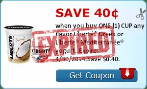 Save 40¢ when you buy ONE (1) CUP any flavor Liberté® Greek or Liberté® Méditerranée® yogurt..Expires 4/30/2014.Save $0.40.