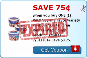 Save 75¢ when you buy ONE (1) PACKAGE any flavor/variety Pillsbury® Gluten Free Refrigerated Dough product..Expires 7/31/2014.Save $0.75.