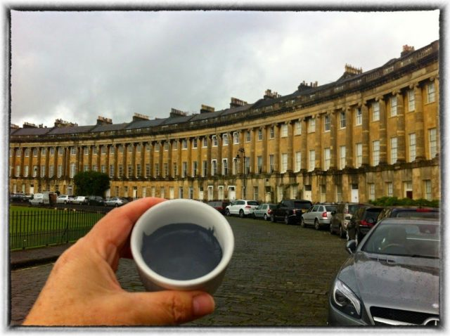 The Royal Crescent, Bath, and pot of squid ink