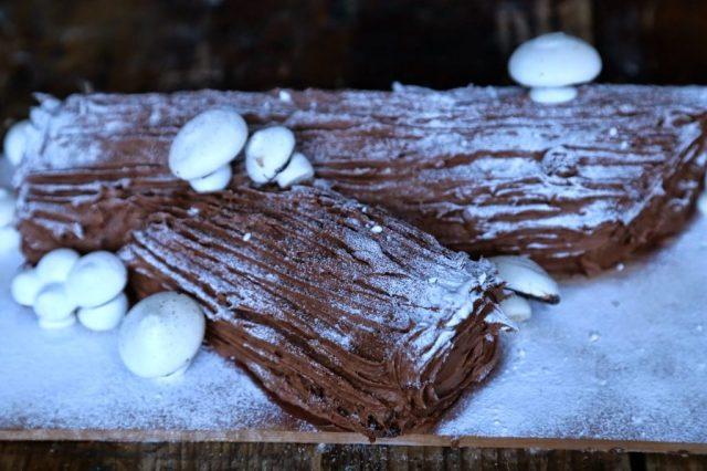 Chocolate chestnut nutella yule log with meringue mushrooms, Christmas food