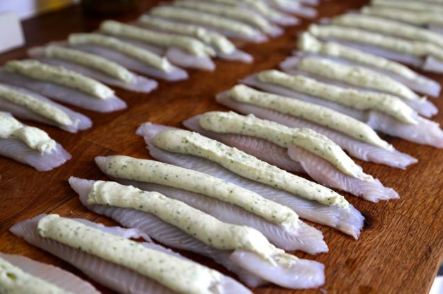 rolled lemon sole filets with fish mousse and raki