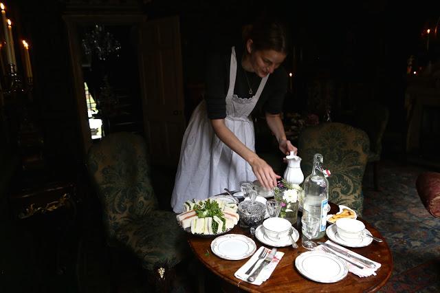 Maid servant at MsMarmitelover's 18th century tea party at Dennis Severs house, 18 Folgate St, Spitalfields, london,