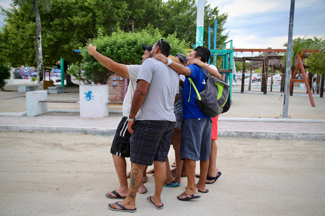 selfies on holiday, mexicans in holbox, mexico