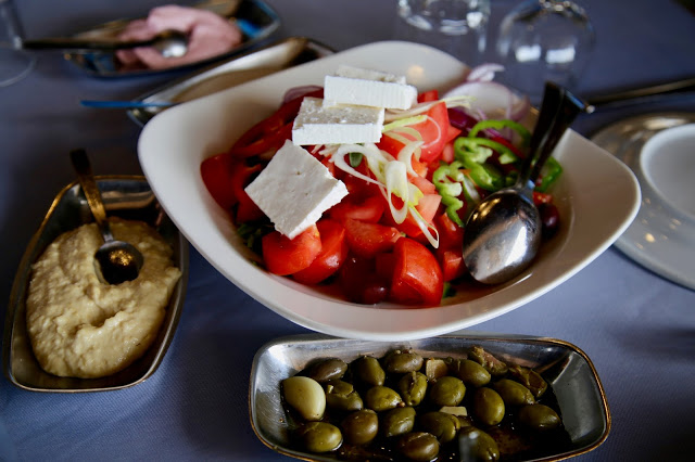 village salad, hummus, tarama, meze, Cyprus pic: Kerstin Rodgers/msmarmitelover.com