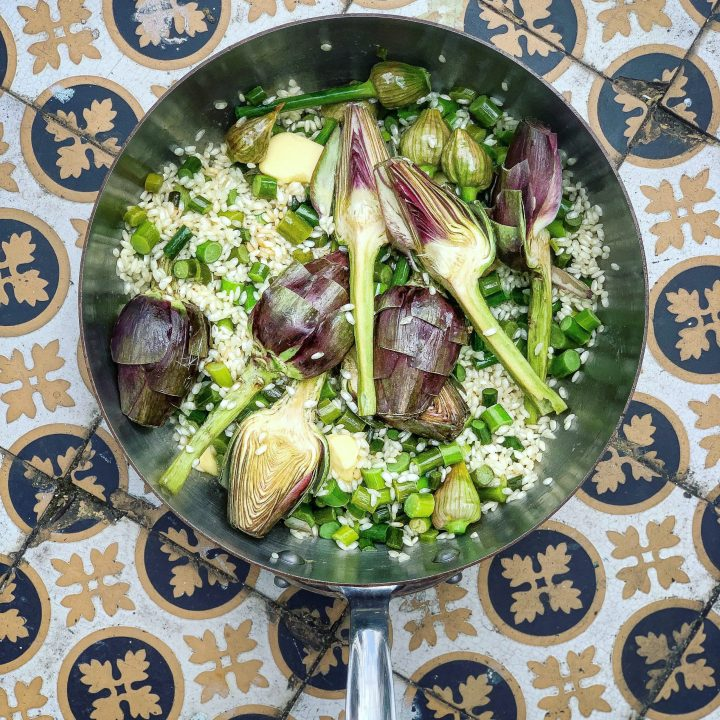 Thistle mosaic and artichoke risotto pic: Kerstin rodgers/msmarmitelover.com