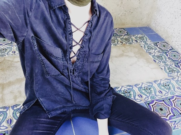 Crisscross, Tie-up, Casual, Tile, Scarf, Catalina Island, Outfit, Denim on Denim,