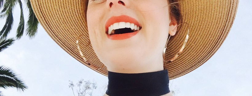 smile, hat, palms, beach, hoops, choker, fashion, lashes