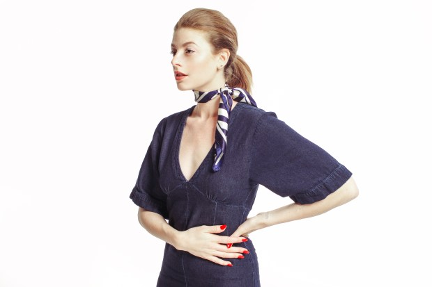 Nautical, Stripes, Denim Jump Suit, Trends, Paul Mitchell, Red White and Blue, Stripes, Silk Scarf Tutorial, Hair Tutorial, Maverick, Muse,