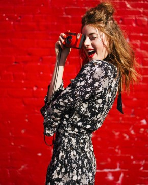 Red, Red Lip, Red Hair, Beauty, Half Up Half Down, Style, Blogger, Fashionista, Smile, Camera, Vintage, Free People, Summer, Silverlake, Los Angeles, Lifestyle,