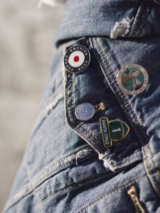 pins, wanderlust, denim jacket, santa cruz, catalina, fashionista, trends,