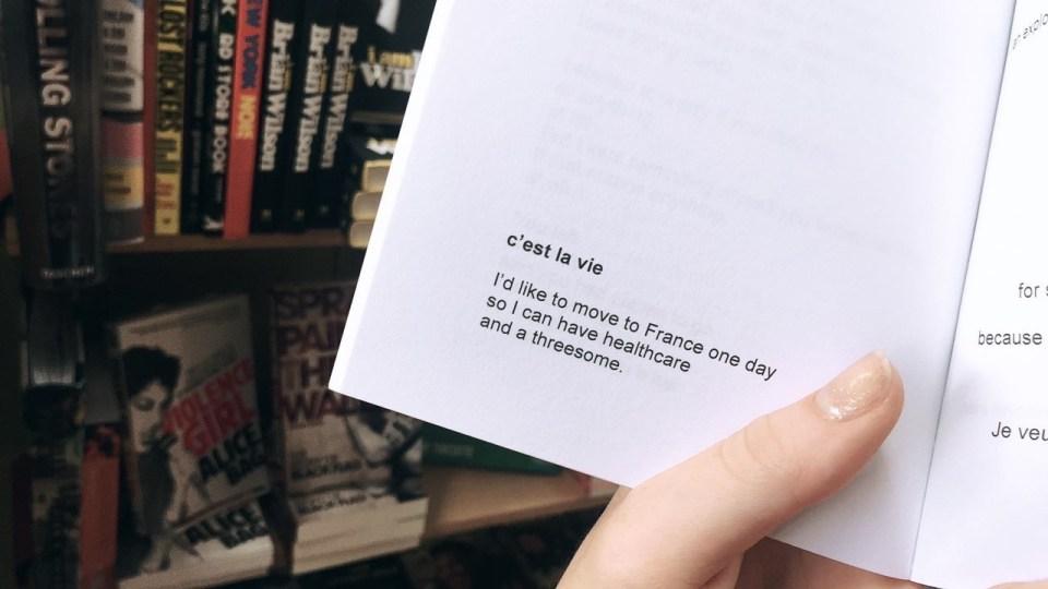 Poetry, Paris, Humor, Threesome, c'est la vie, France, Simple, Bookstore, Bookstore Finds,