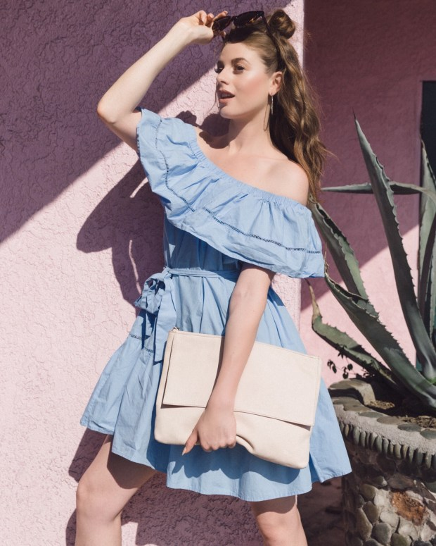 Shein, Off-The-Shoulder, Dress, Blue, Pastels, Colorful, Los Angeles Fashion Bloggers, Bright, Playful, Havana Style, Moroccan Accents, Cool Design, Charming Locations, That's Darling, Platforms, Socks with Heels, Fashion Statements, Color Blocking,