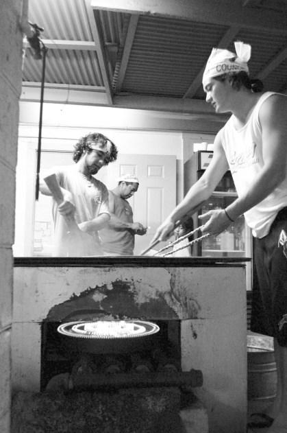 cooking chow fun. lahaina hongwanji obon festival. maui, hawaii.