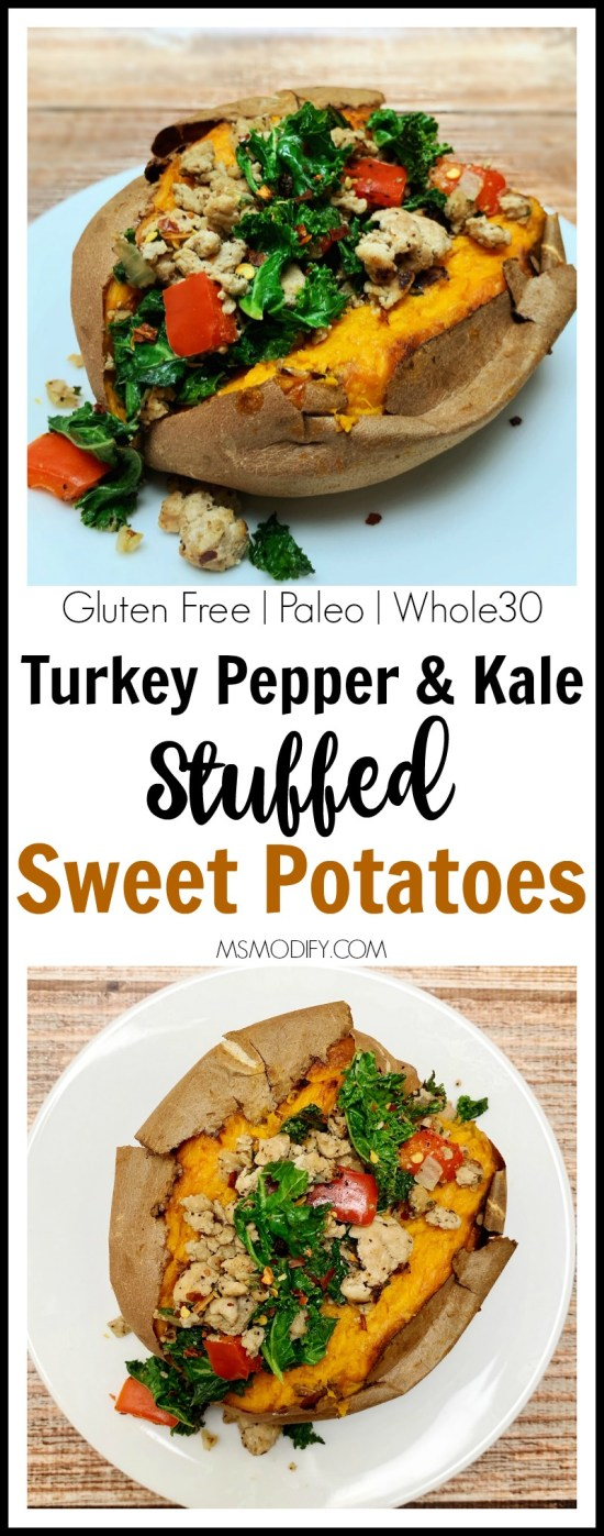 Turkey, Pepper & Kale Stuffed Sweet Potato