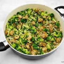 One Skillet Sausage Broccoli & Cauliflower Rice