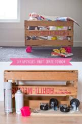 Upcycled Fruit Crate Toy Box