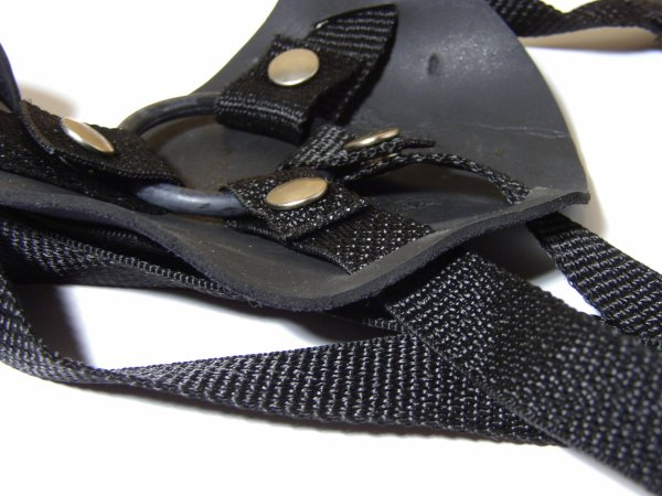 strap-on play for all genders workshop strap on pegging [IMAGE DESCRIPTION - close up of a black strap on harness with nylon straps that snaps onto a rubber ring backed by foam]